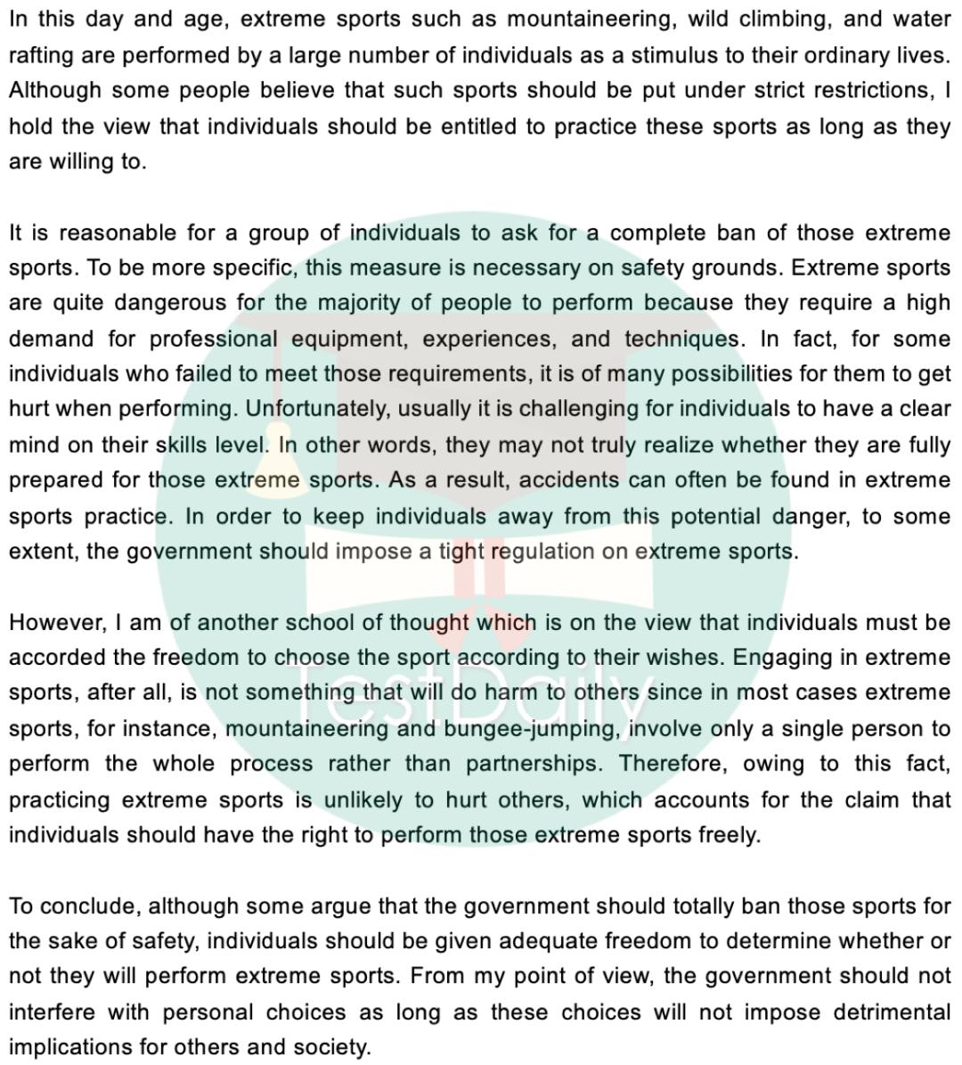 2020年11月28日雅思大作文真题及高分范文:政府是否应该禁止危险的体育运动