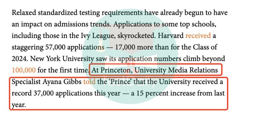 2020-2021年申请季普林斯顿大学、达特茅斯学院、东北大学公布申请人数,又是涨涨涨!